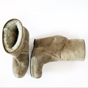 Rick Owens Shoes - Rick Owens 8 Taupe Suede Platform Wedge Ankle Boot